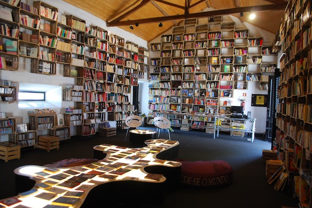 Book towns: Óbidos - a bookshop that displays books in old wine crates