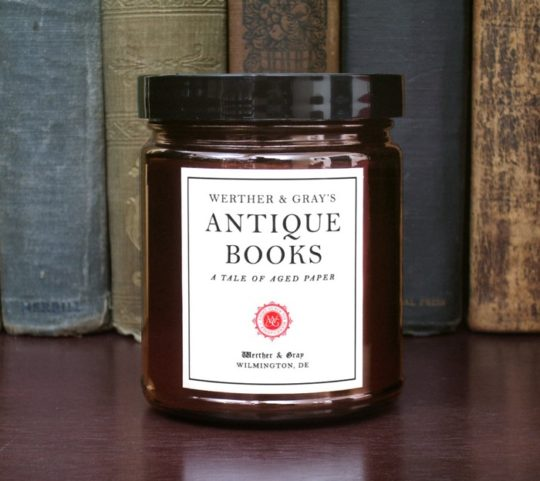 Gifts for Nook users - book and library scented candle
