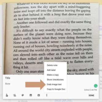 Grab image text in Google Keep