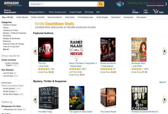 Kindle Countdown Deals - landing page