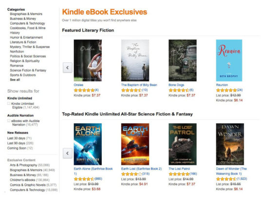 Kindle Ebook Exlcusives - landing page