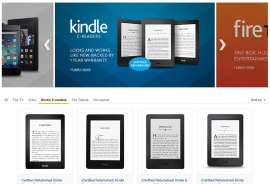 Kindle Outlet Store - landing page