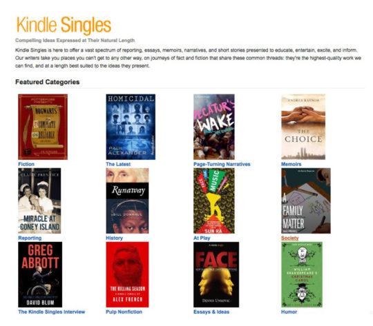 Kindle Singles - landing page