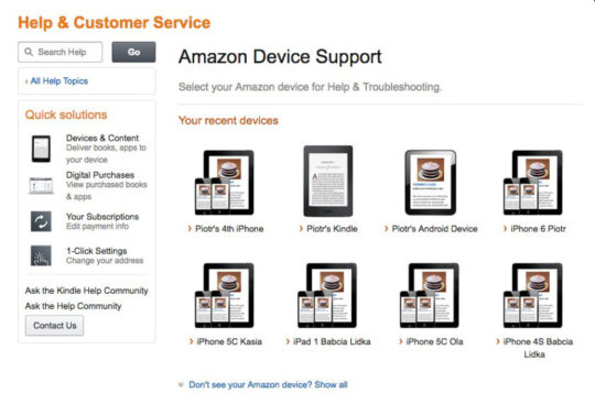 Kindle Store Amazon Device Support landing page