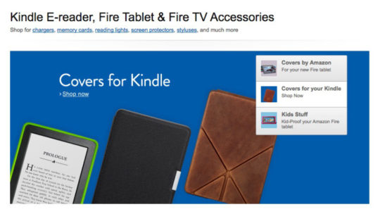 Kindle e reader covers and accessories - landing page