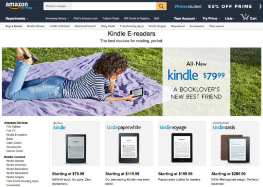 Kindle e readers landing page