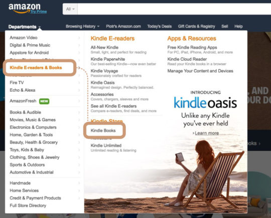 Reaching Kindle Store landing page from Amazon homepage