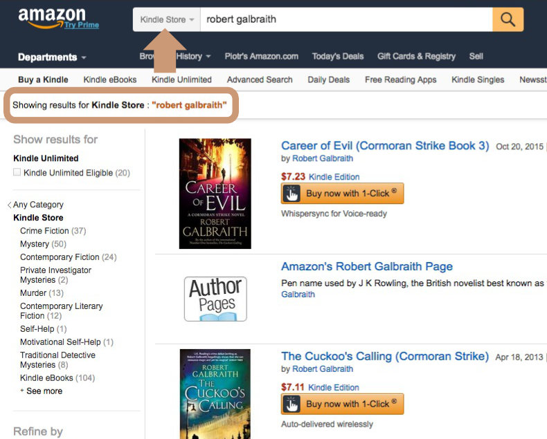 Search Kindle Store only by using the search bar