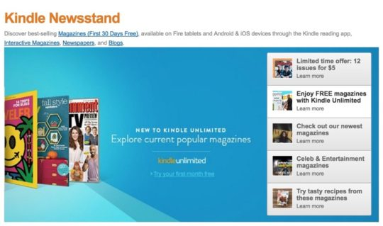 Kindle Newsstand home page with info about Kindle Unlimited magazines