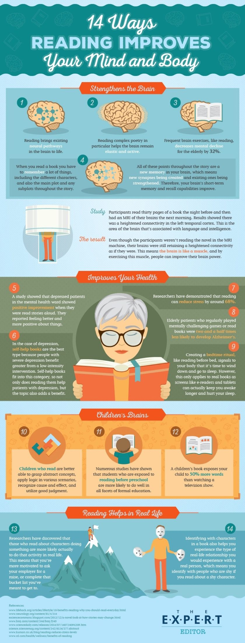 14 ways reading helps your brain and body #infographic