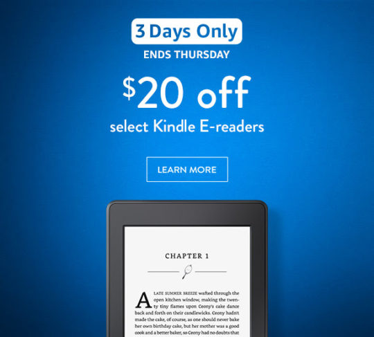 3-day deal on Kindle e-readers - November 2016