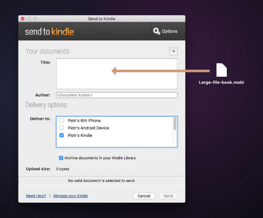 Add large files to Kindle e reader - use the Send to Kindle application