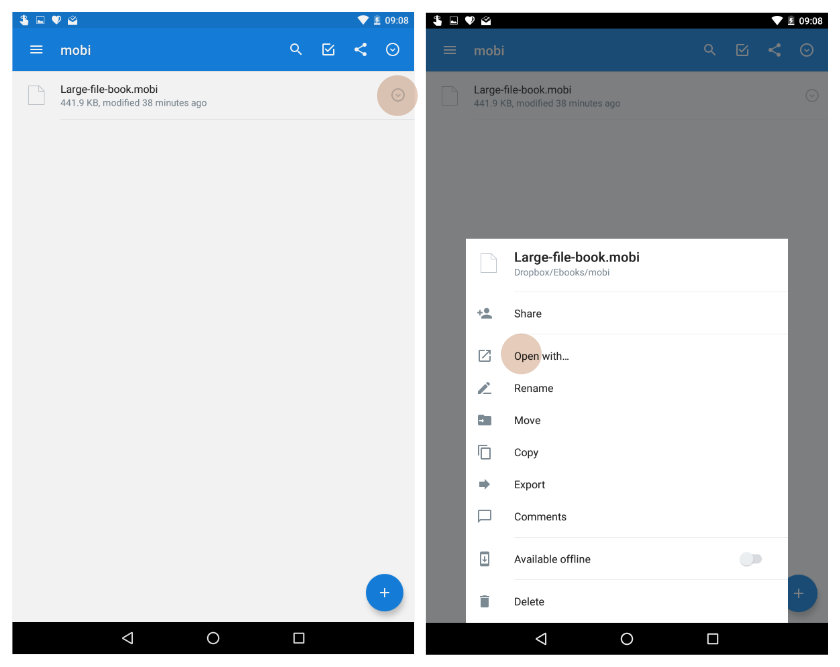 Add large files to Kindle for Android - use Dropbox app