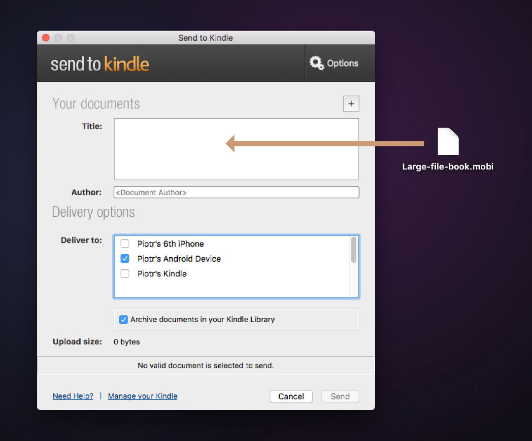 Add large files to Kindle for Android - use the Send to Kindle application