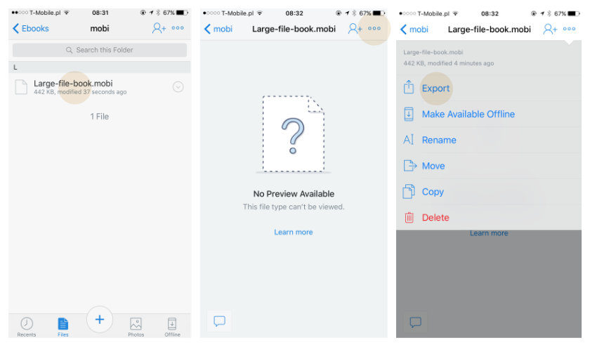 Adding large file to Kindle iOS using Dropbox app