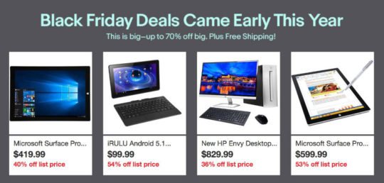 Black Friday and Cyber Monday 2016 tablet deals on eBay
