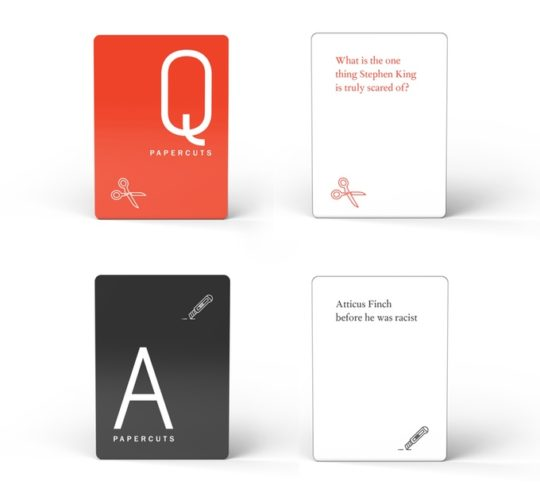 Example cards from Papercuts literary game