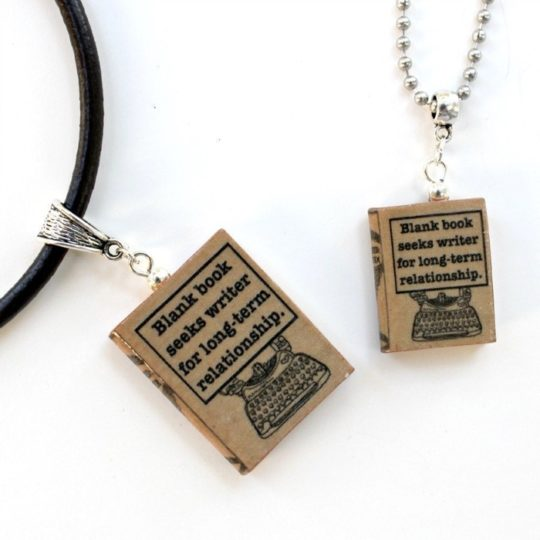 Amazon Handmade: Mini book pendant necklaces