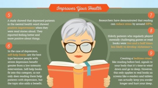 Reading books improves your health in many ways