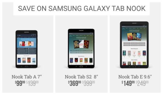 Save on Samsung Galaxy Tab Nook tablets - Cyber Monday 2016