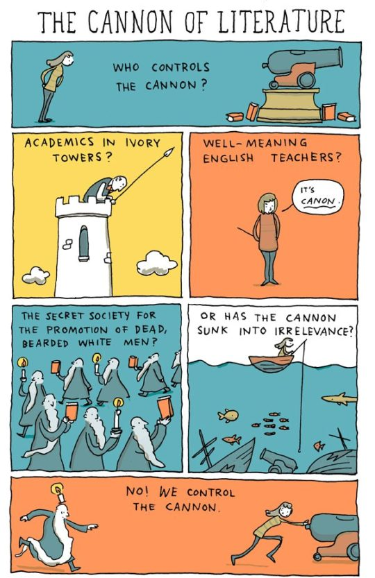 The cannonn of literature - cartoon by Grant Snider
