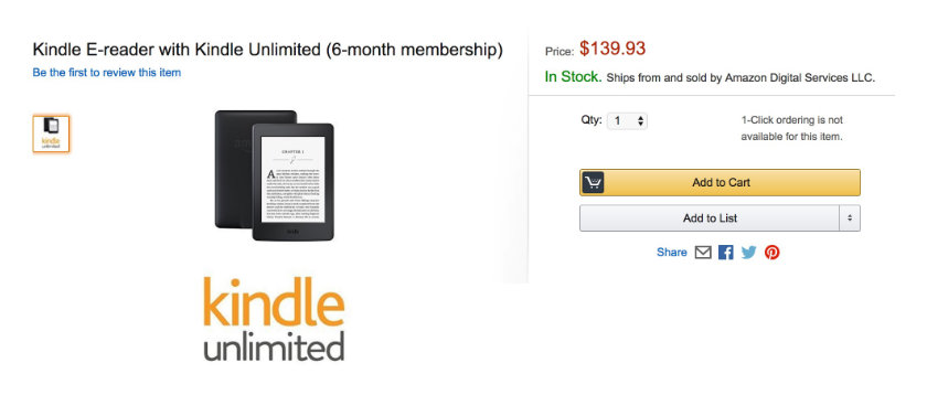 Amazon plans to bundle Kindle ereader with Kindle Unlimited subscription