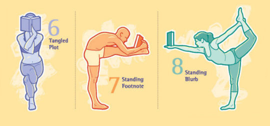 Selected yoga poses for book lovers