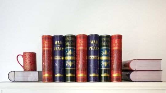 A range on NovelTea Tins on a bookshelf