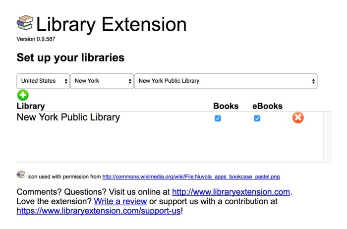 Add a library to the list in Library Extension for Chrome