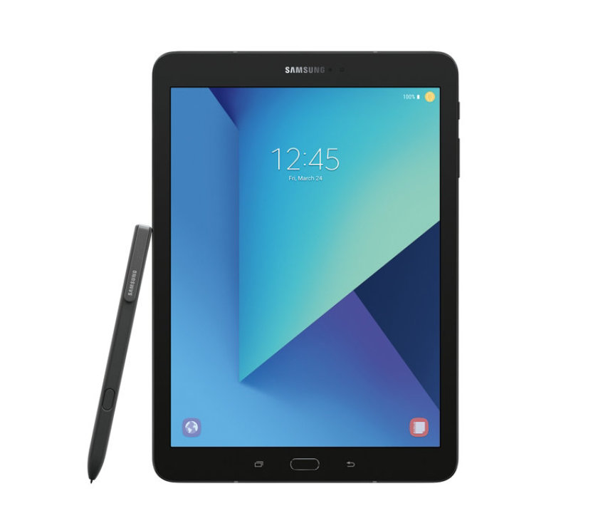 Black Samsung Galaxy Tab S3 9.7 2017 with S Pen - front view