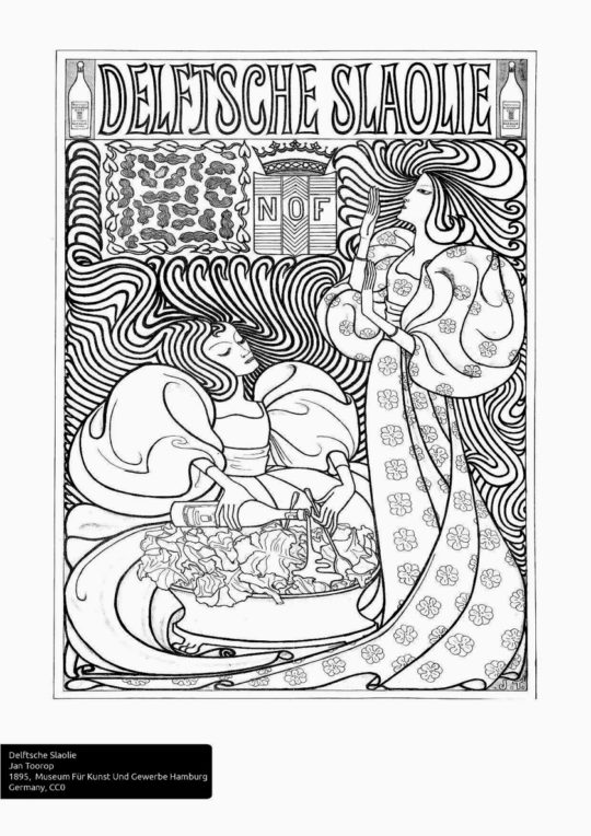 Example page from Europeana Art Nouveau Coloring Book
