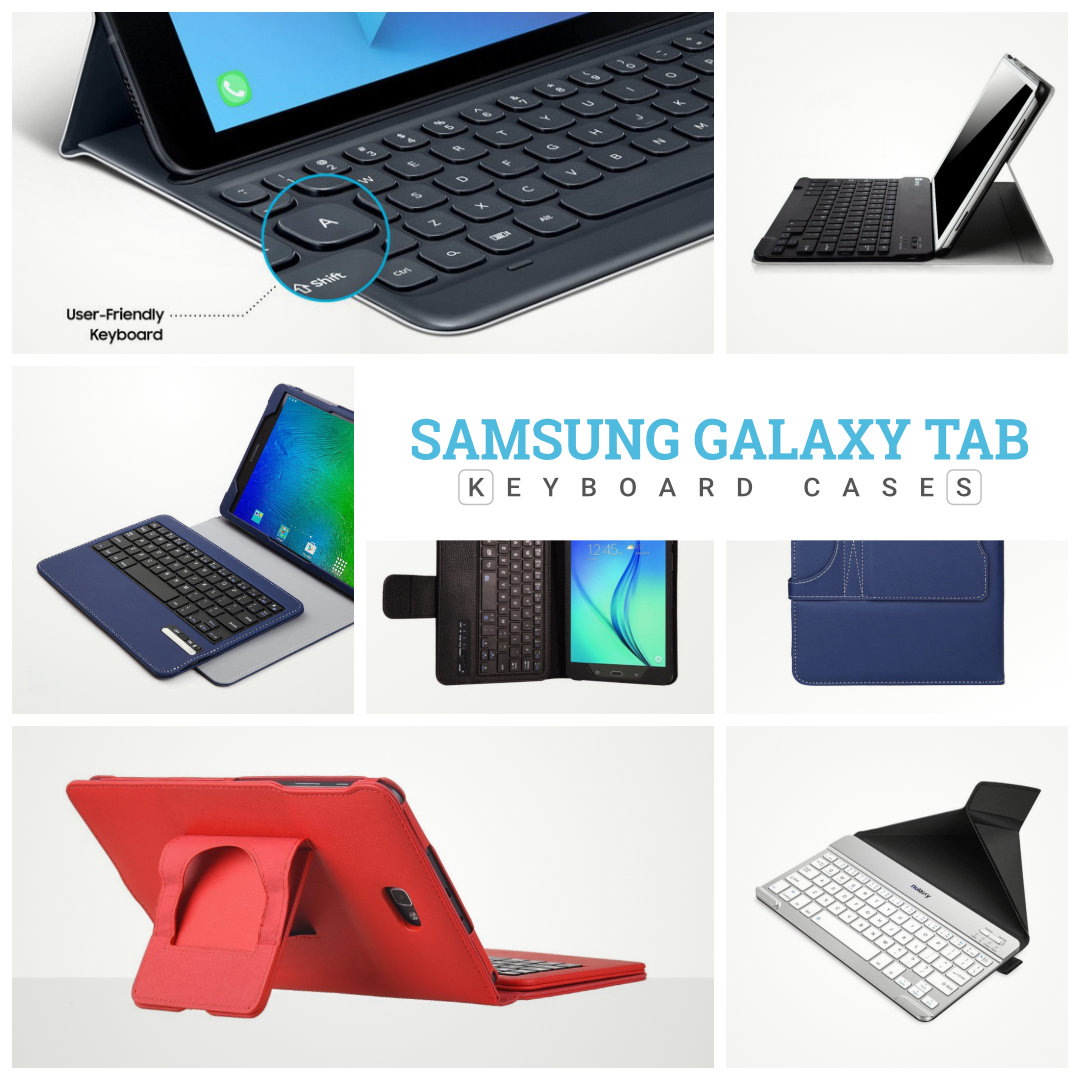 Keyboard case covers for Samsung Galaxy Tab tablets