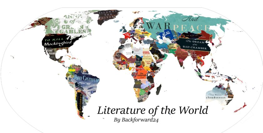Literary map of the world - one country is represented by one book