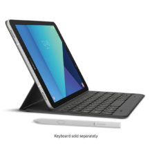 Silver Samsung Galaxy Tab S3 9.7 with a keyboard sold separately