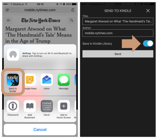 You can now send to Kindle on iPad and iPhone nto only files but also web pages