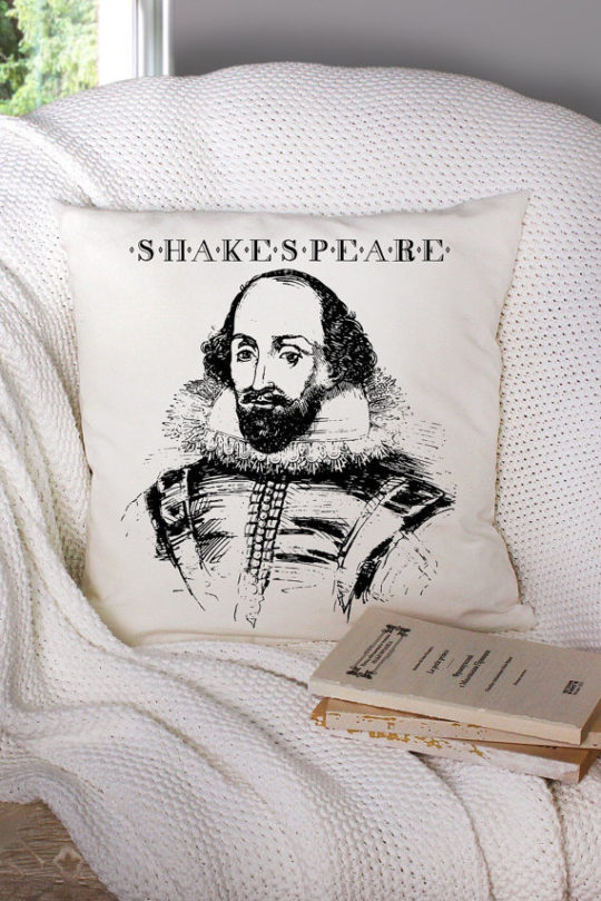 Best bookish gifts for mother - a pillow with a portrait of William Shakespeare
