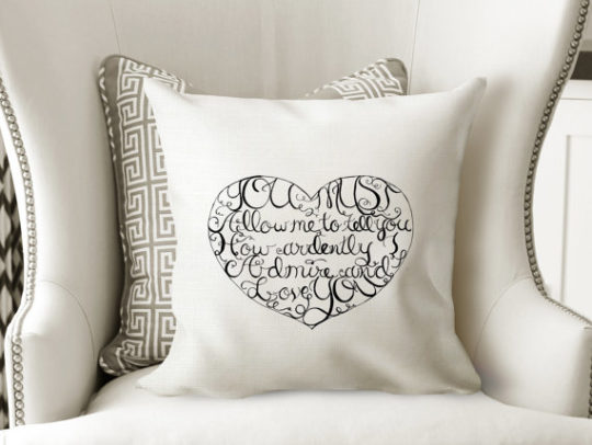 Best gifts for mom - literary pillow with a quote by Jane Austen