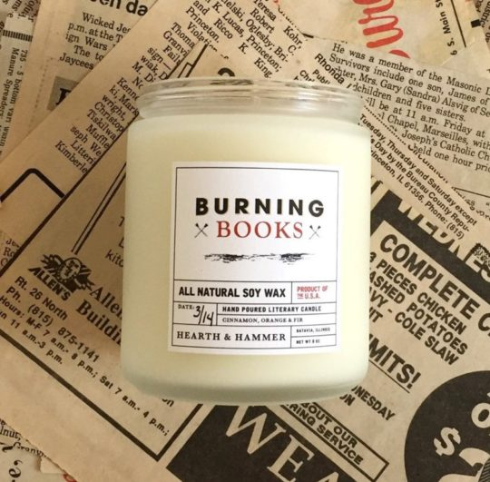 Bookish gifts for mother - Burning Books scented candle