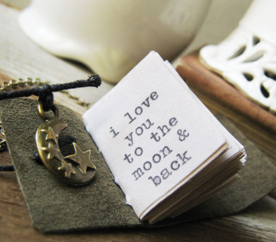 Bookish necklace - I love you to the moon and back