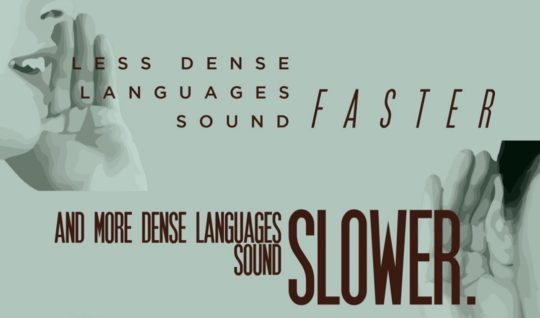 Less dense languages sound faster