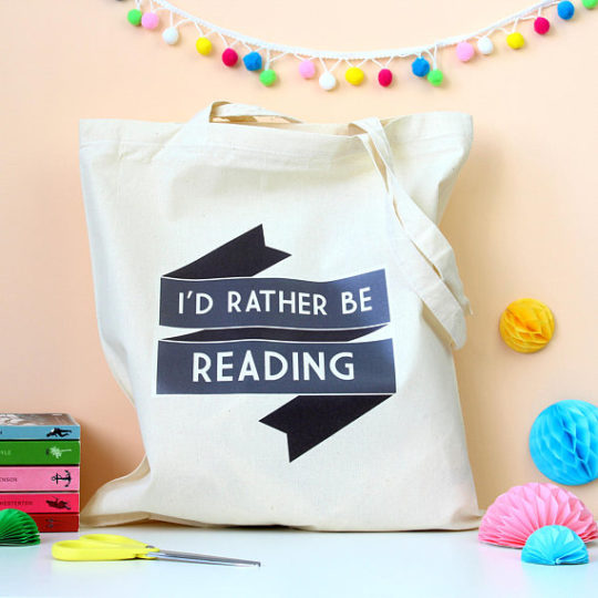 Rather Be Reading tote bag - gift ideas for mom