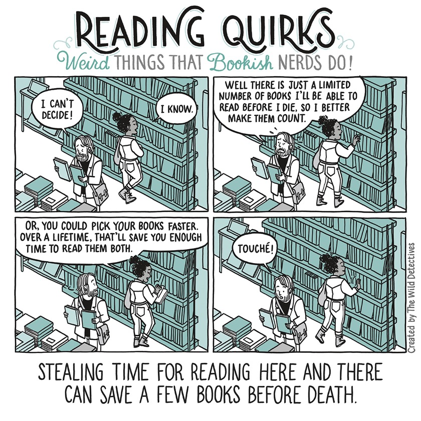 Reading Quirks No. 14 - Stealing time for reading books here and there can save a few books before death