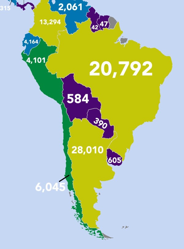 Which countries publish the most books - South America