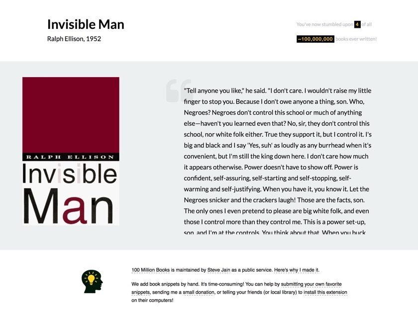 100 Million Books Chrome extension - Invisible Man