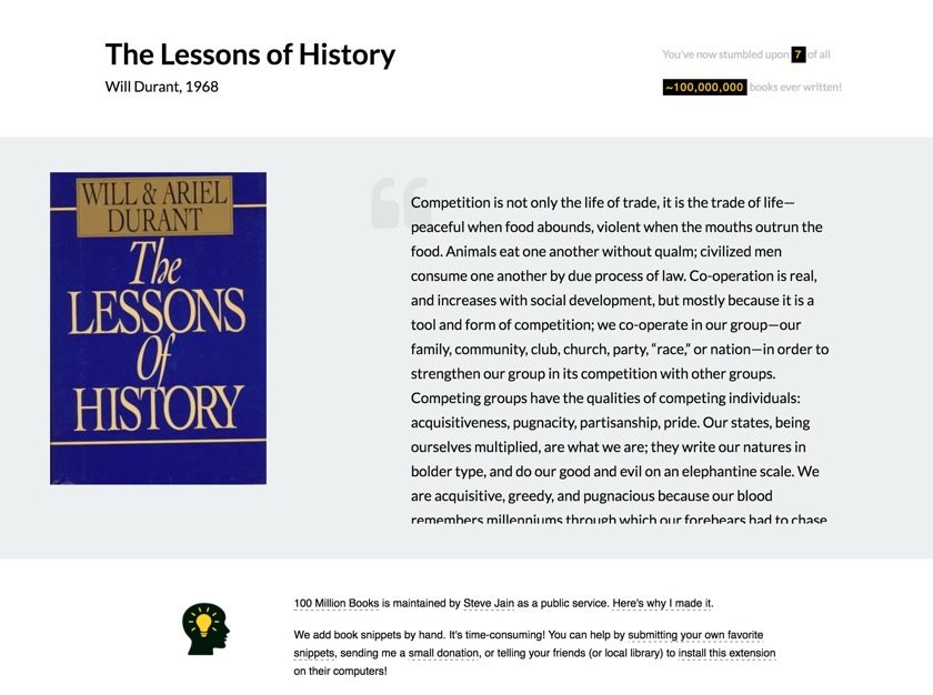 100 Million Books Chrome extension - The Lessons of History