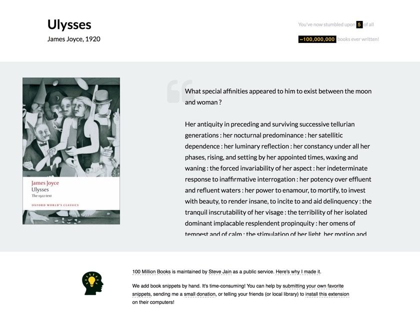 100 Million Books Chrome extension - Ulysses
