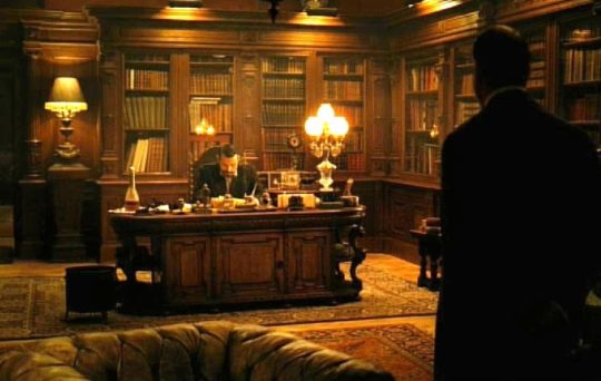 "A screenshot from ""The Illusionist"" - an inspiration for Jim Cardon's library in Arizona"
