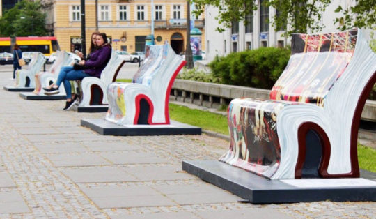Book benches in Warsaw near Palace of Culture and Science