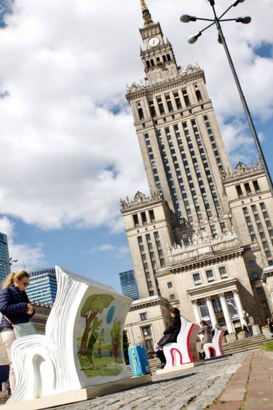 Book benches in front of the Palace of Culture and Science in Warsaw