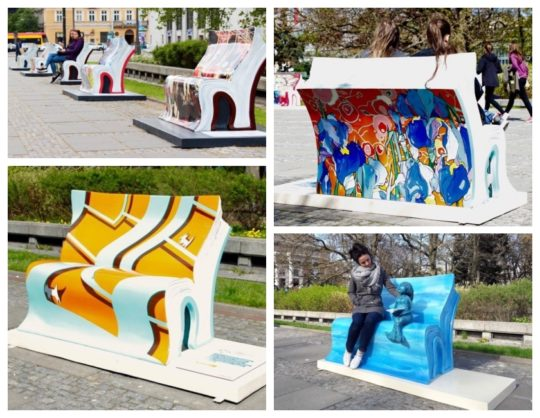 Book-like benches in Warsaw and other Polish cities